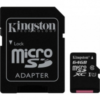 Карта памяти Kingston microSDXC 64GB Canvas Select Class 10 UHS-1 U1 + SD-адаптер
