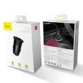 Автомобильное зарядное устройство Baseus Circular Plastic A+A 30W Dual QC3.0 Черный