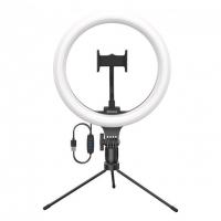 """Кольцевая светодиодная LED лампа Baseus Live Stream 10"""" с триподом Черный"""