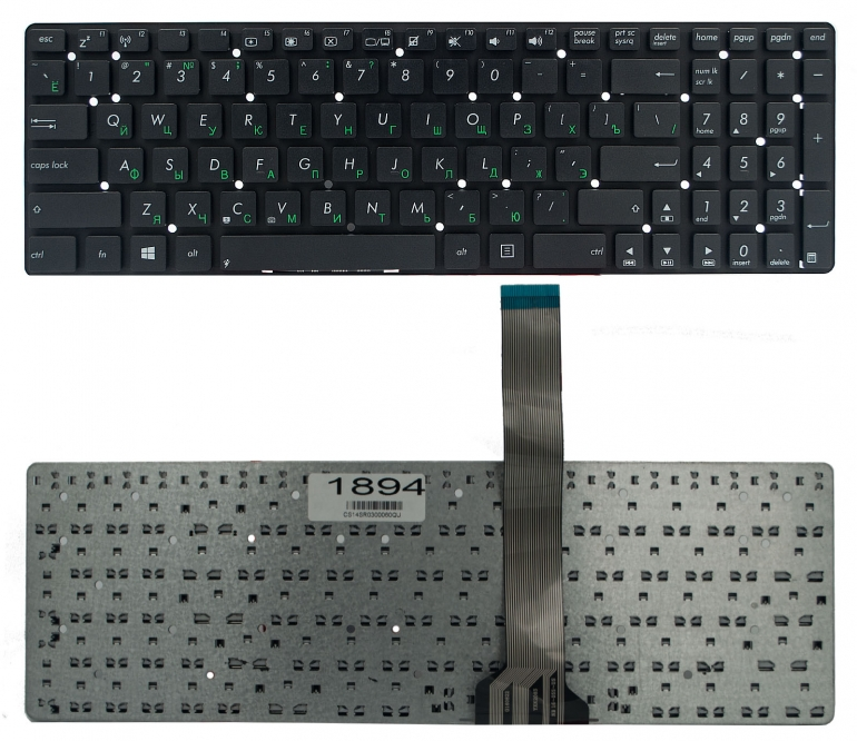 Клавиатура для ноутбука Asus A55V A75V K55V K75V F751M K751M X751M R500 R700V U57A черная без рамки Прямой Enter