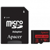 Карта памяти Apacer microSDXC 128GB Class 10 UHS-1 + SD-адаптер