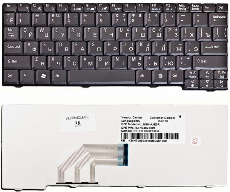 Клавиатура для ноутбука Acer Aspire One 531H D150 D250 P531 A11O A150 eMachines 250 Gateway LT1000 черная