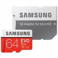 Карта памяти Samsung Evo Plus microSDXC 64GB Class 10 UHS-1 U3 + SD адаптер