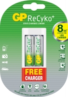 Аккумуляторная батарейка GP ReCyko+ AA 1.2V 2100mAh 2шт + Зарядное устройство GP GPU211 Wall charger