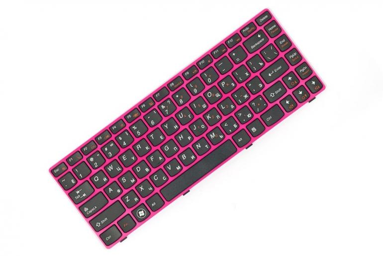 Клавиатура для ноутбука Lenovo Ideapad Z370 черная/розовая