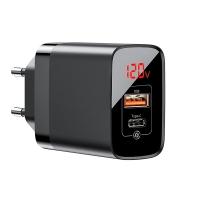Сетевое зарядное устройство Baseus Mirror Lake Digital Display, 2 порта, USB + Type-C Черный