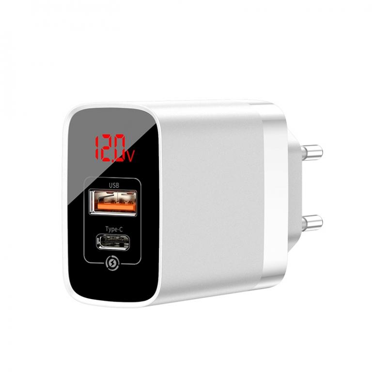 Сетевое зарядное устройство Baseus Mirror Lake Digital Display, 2 порта, USB + Type-C Белый