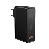 Сетевое зарядное устройство Baseus GaN Mini 3 порта, USB + Type-C*2 120W + кабель 100W(20V/5A) 1M Черный