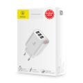 Сетевое зарядное устройство Baseus Mirror Lake Intelligent, 3 порта USB, 3.4A, Белый