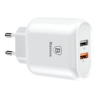 Сетевое зарядное устройство Baseus Bojure Dual-USB QC 3.0 Белый