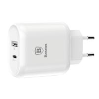 Сетевое зарядное устройство Baseus Bojure Type-C PD+USB QC Белый