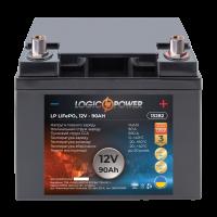 Аккумулятор для автомобиля литиевый LogicPower Lifepo4 12V-90Ah (+ справа, обратная полярность) пластик
