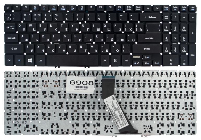 Клавиатура Acer Aspire V5-552 V5-552G V5-572 V5-573 V7-581 V7-582 черная без рамки Прямой Enter