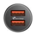 Автомобильное зарядное устройство Baseus Small Screw Dual-USB QC 3.0 Черный