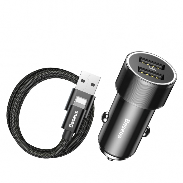 Автомобильное зарядное устройство Baseus Small Screw 3.4A Dual-USB Lightning Черный