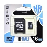 Карта памяти Hi-Rali micro SDHC 16GB Class 10 + адаптер