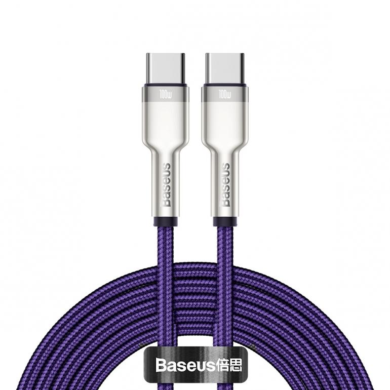 Кабель Baseus Cafule Type-C to Type-C PD 100W 2M Фиолетовый