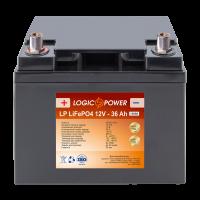 Аккумулятор для автомобиля литиевый LogicPower Lifepo4 12V-36Ah (+ слева, прямая полярность) пластик