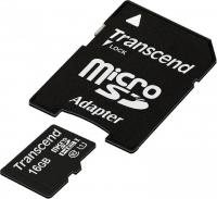 Карта памяти Transcend microSDHC 16 GB Class 10 UHS-1 + SD-адаптер