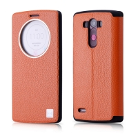 Чехол Xoomz для LG G3 Litchi Pattern Leather Orange (side-open)