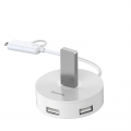 USB Hub Baseus Round Box USB-A + Type-C to USB3.0*1 + USB2.0*3 Белый