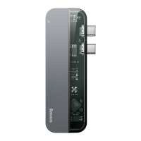 USB Hub Baseus Transparent Series Dual Type-C to Type-C*2 + USB3.0*2 + HD4K Серый