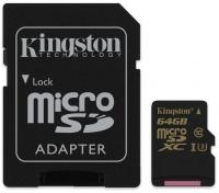 Карта памяти Kingston microSDXC 64GB Gold Class 10 UHS-1 U3 + SD-адаптер