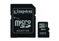 Карта памяти Kingston microSDHC 16GB Class 4 + SD-адаптер