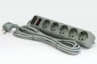 Сетевой фильтр LogicPower LP-X5, серый, 5 розеток, 1,8 м.