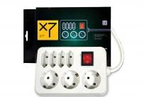 Сетевой фильтр LogicPower LP-X7, белый, 7 розеток, 3,0 m