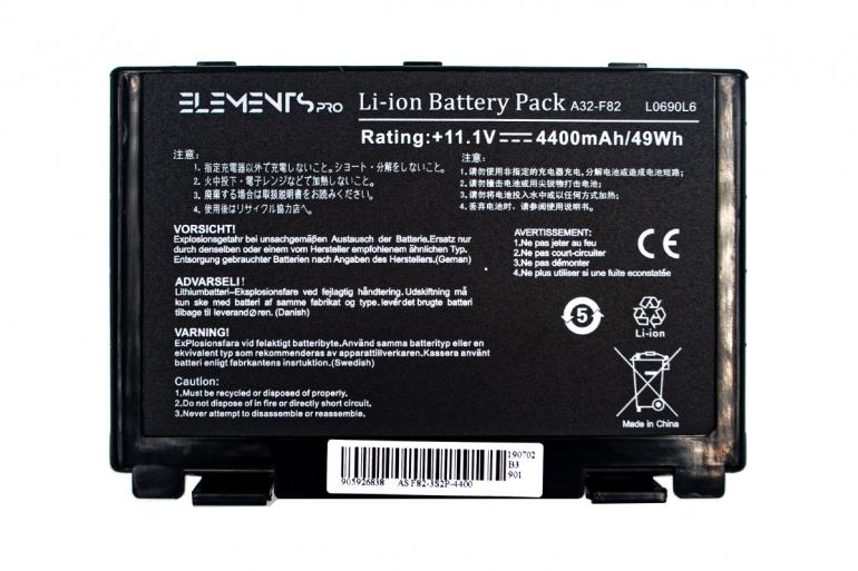 Батарея Elements PRO для Asus F52 F82 K40 K50 K51 K60 K61 K70 X87 11.1V 4400mAh