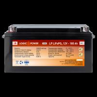 Аккумулятор для автомобиля литиевый LogicPower Lifepo4 12V-180Ah (+ слева, прямая полярность) пластик