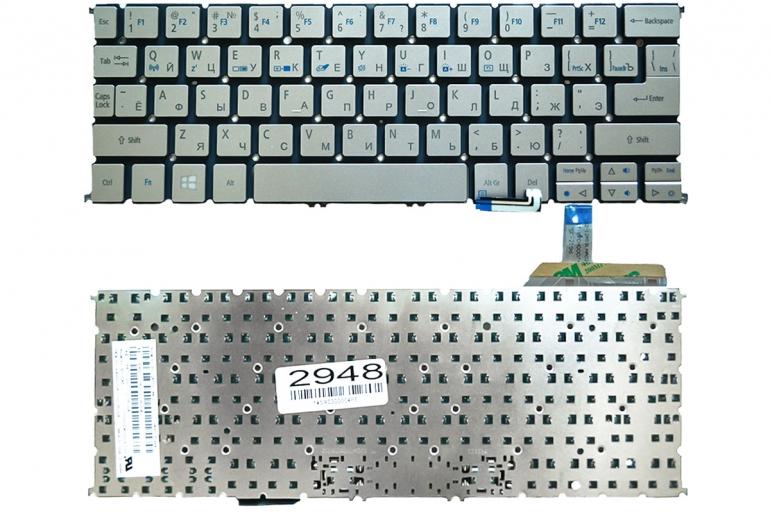 Клавиатура для ноутбука Acer Aspire S7-191 серая без рамки Прямой Enter Подсветка