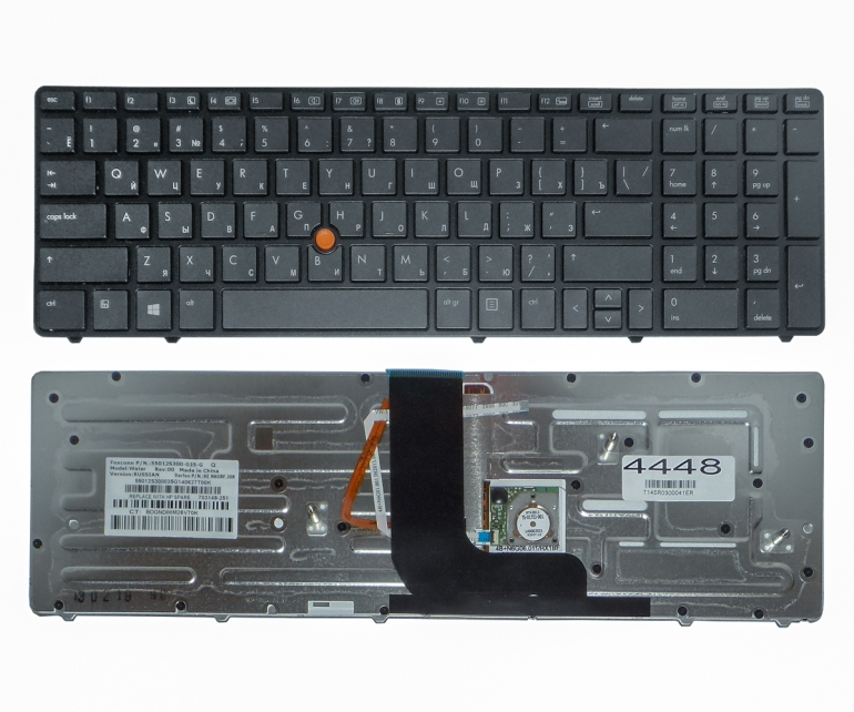 Клавиатура для ноутбука HP Elitebook 8560W 8570W черная Подсветка Fingerpoint