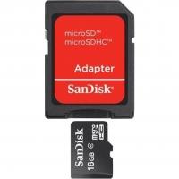Карта памяти SanDisk microSDHC 16GB Class 4 + SD-адаптер