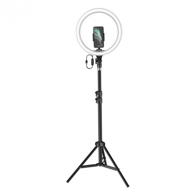 """Кольцевая светодиодная LED лампа Baseus Live Stream 12"""" со штативом Черный"""