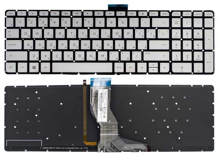 Клавиатура HP Pavilion 15-ab 15-ak 15-ar 15-aw 15-bc 15-bk 17-ab Envy m6-ar 15-bs 15-ra 250 G6 серая без рамки подсветка Прямой Enter