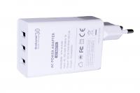 Сетевое зарядное устройство KFD Qualcomm Quick Charge 3.0, 3 порта USB, Белый