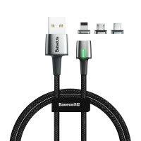 Кабель Baseus Zinc Magnetic Kit Lightning + Type-C + microUSB 1M Черный