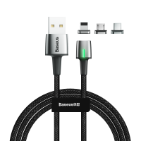 Кабель Baseus Zinc Magnetic Kit Lightning + Type-C + microUSB 2M Черный