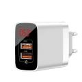 Сетевое зарядное устройство Baseus Mirror QC Digital Display, 2 порта USB, 3.4A, Белый