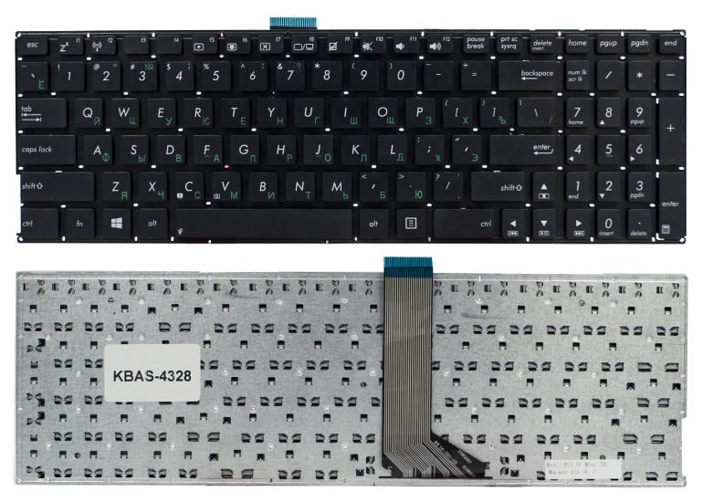 Клавиатура Asus K555L K555LA K555LD K555LN K555LP X553M K553M F553M черная без рамки Прямой Enter