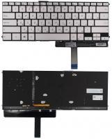 Клавиатура Asus ZenBook 3 Deluxe UX490UA PWR серебристая без рамки Прямой Enter подсветка