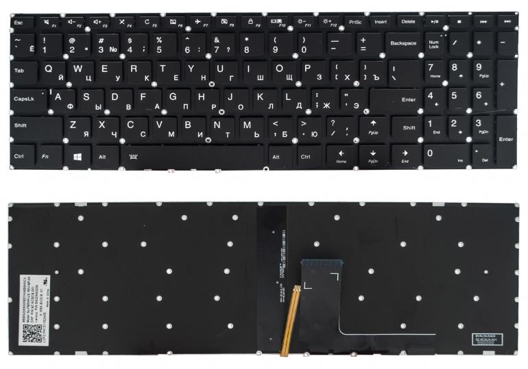 Клавиатура для ноутбука Lenovo IdeaPad 310-15ABR 310-15IAP 310-15IKB 310-15ISK 510-15IKB 510-15ISK черная без рамки Прямой Enter подсветка