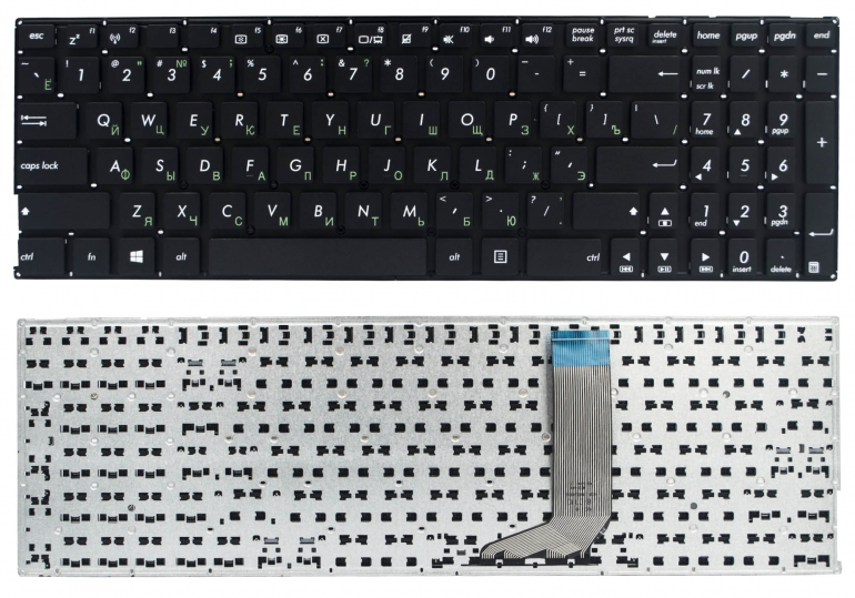 Клавиатура для ноутбука Asus A556UR A556UV F556UB F556UF FL5900UQ K556UQ X556UA X556UF X556UV R558UA Z550SA A756UA X756UW D756UX черная без рамки Прям