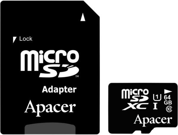 Карта памяти Apacer microSDXC 64GB Class 10 UHS-1 + SD-adapter