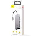 USB Hub Baseus Square Desk Type-C (PD 87W) to USB3.0*2 + HDMI + TF Card + SD Card + RJ45 Ethernet + Type-C PD Deep Gray