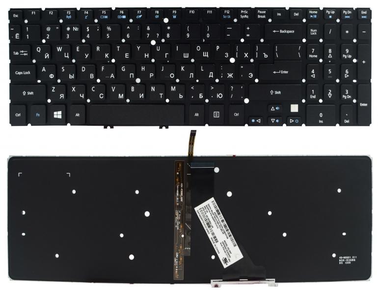 Клавиатура Acer Aspire V5-531 V5-551 V5-571 Ultra M3-581 M5-581 VN7-571 VN7-591G черная без рамки Прямой Enter подсветка