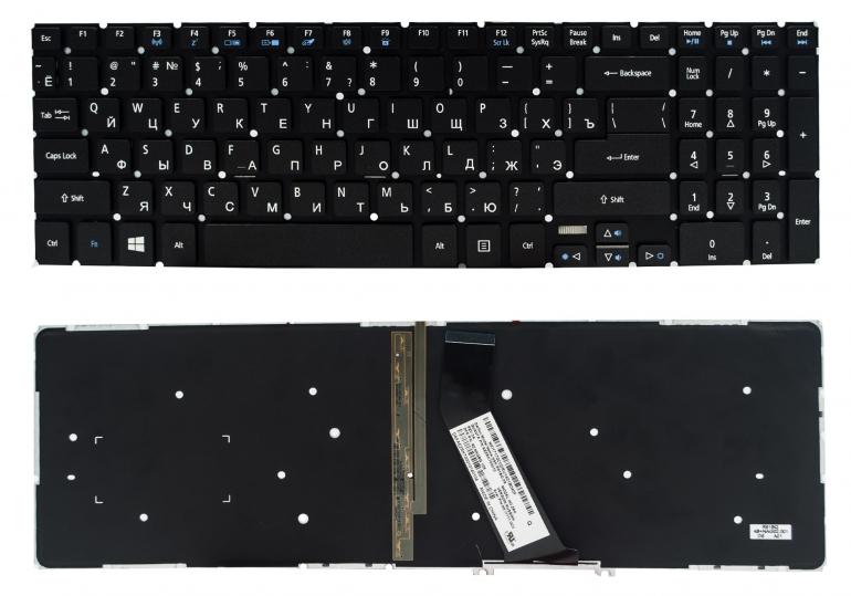 Клавиатура Acer Aspire V5-552 V5-552G V5-572 V5-573 V7-581 V7-582 черная без рамки Прямой Enter подсветка